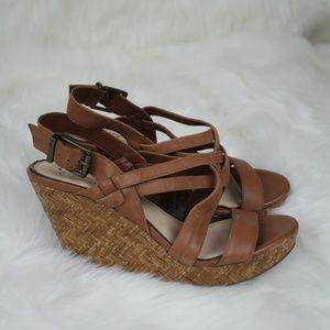 Jessica Simpson Leather Wicker Heel Wedges10